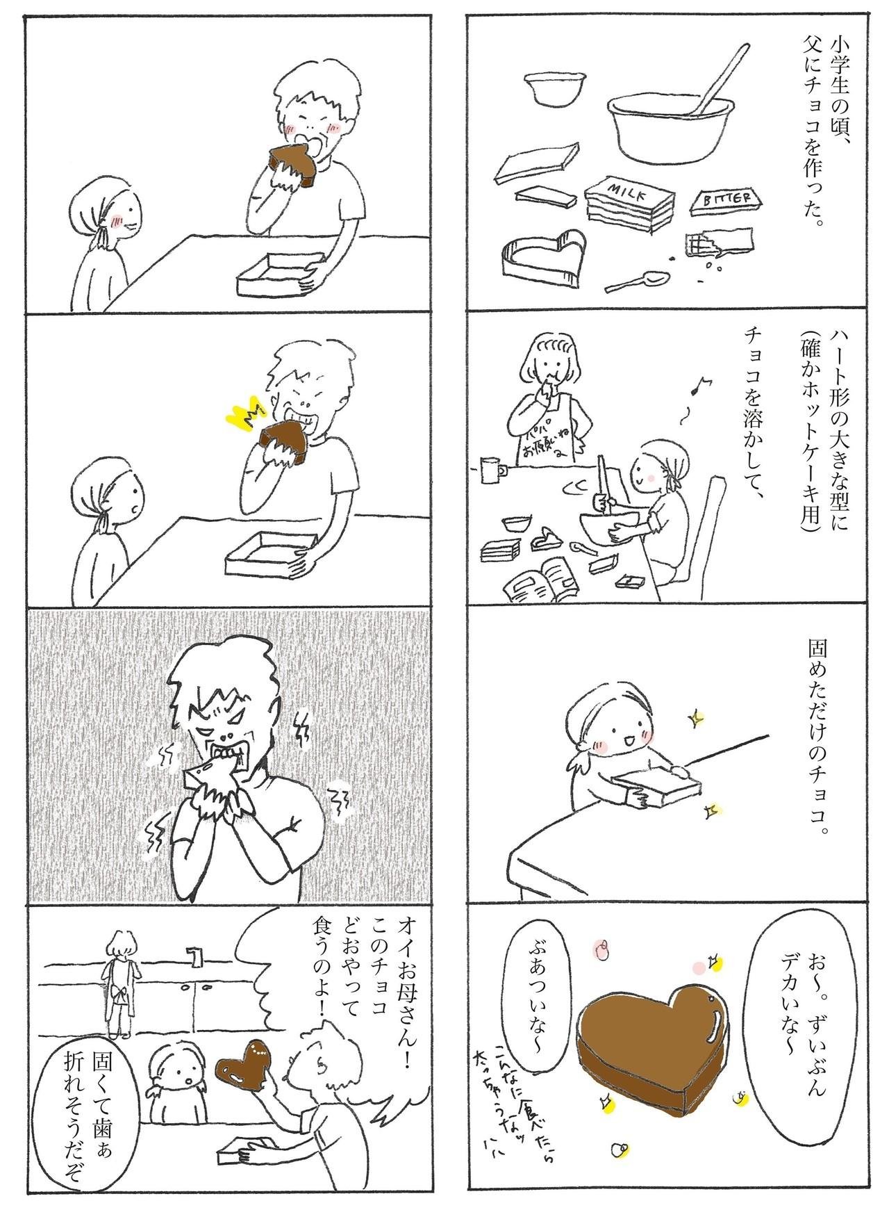 噛み切れないほどの分厚いチョコをなんとか食べてくれた父。忙しいなかチョコ作りに付き合ってくれた母もありがとう。