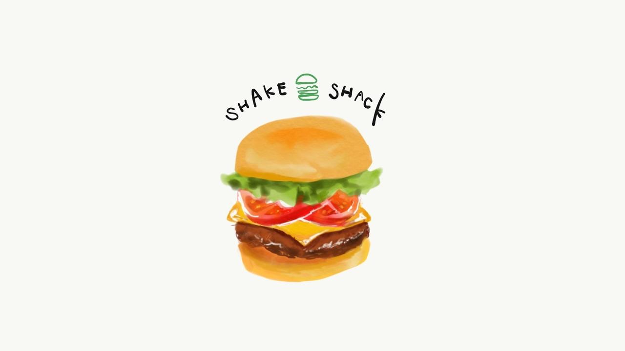 SHAKE SHACKのハンバーガー。ShackBurgerが美味しかったよ。Shack Stackは肉が入っていないので肉嫌いな友達とも一緒に楽しめた◎