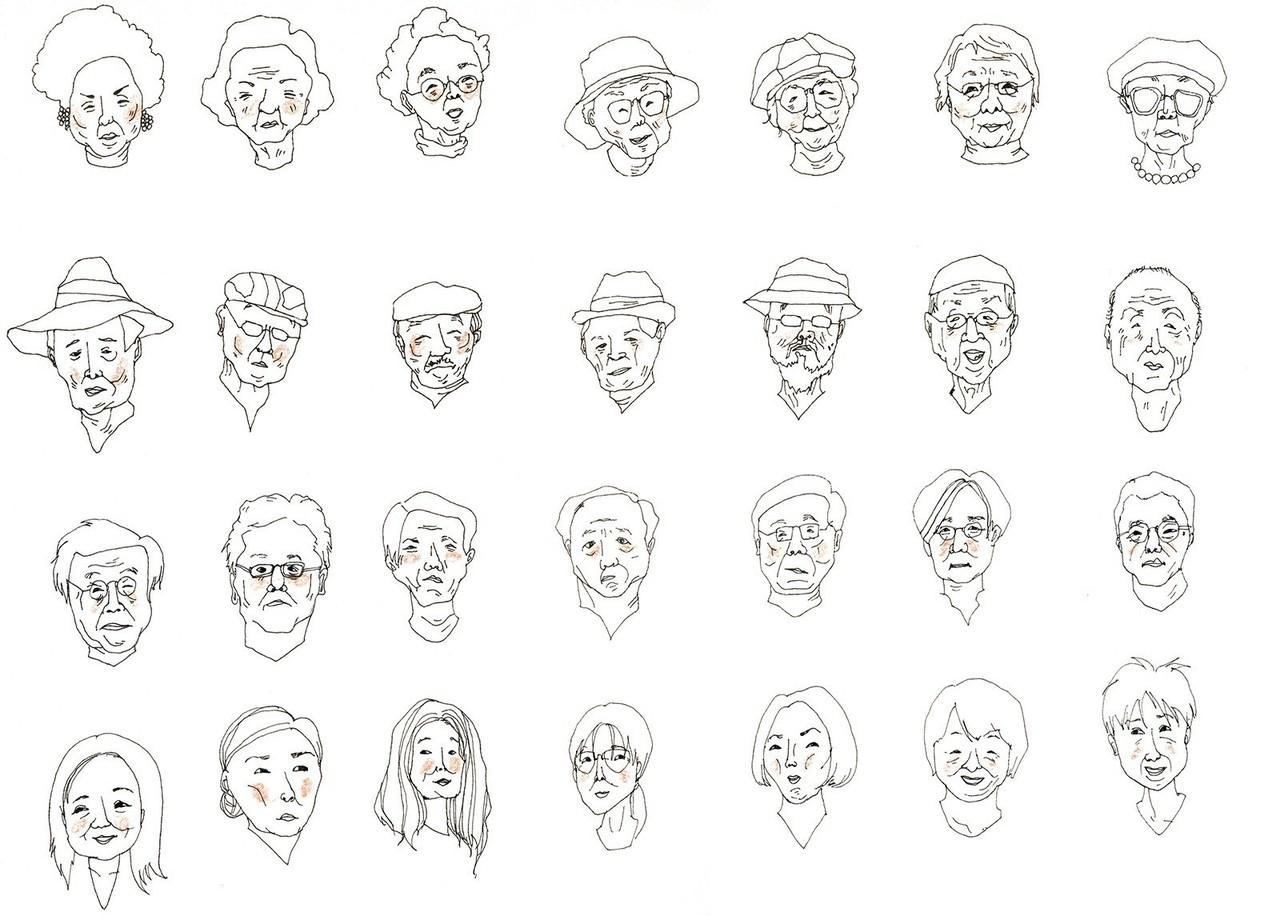 おじいさんとおばあさんの顔って、若い人以上にみんな違ってずっと見てられませんか・・?自分はどういうタイプの顔になるんだろう。