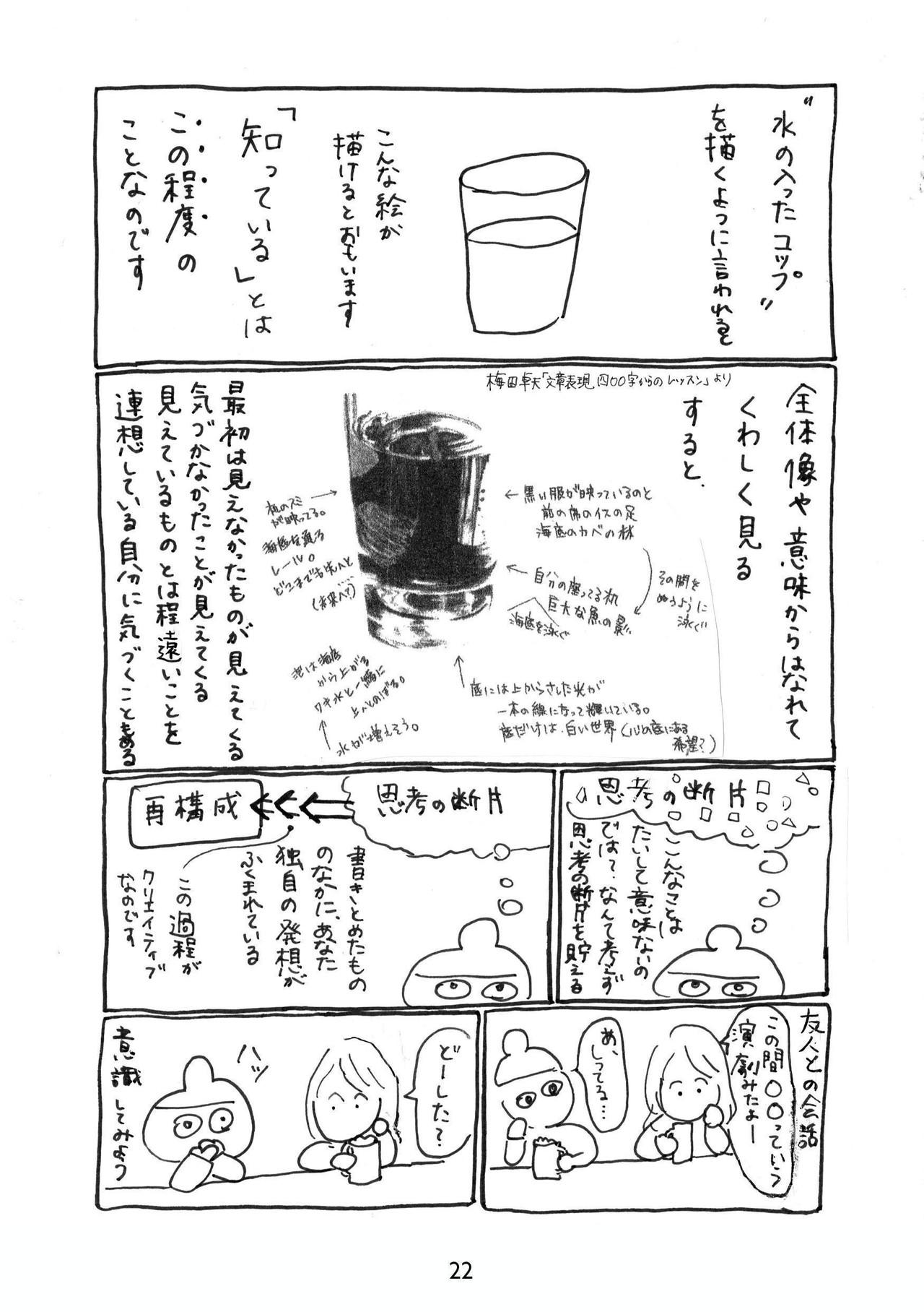 思考の断片描写から文章への課題については、梅田卓夫著「文章表現400字からのレッスン」より出典