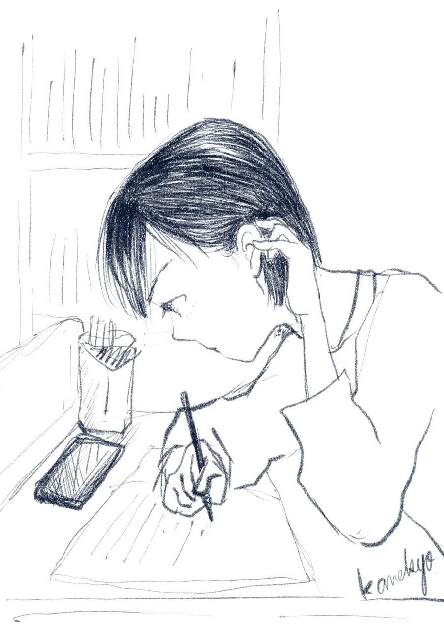 今日はラフだけ。前にも書いた気がしますが、何か一生懸命机に向かっている人を眺めるのが好き。耳に髪の毛をかけて集中している横顔の美しさよ。 #illustration #clipstudio #イラスト #横顔 #鉛筆画