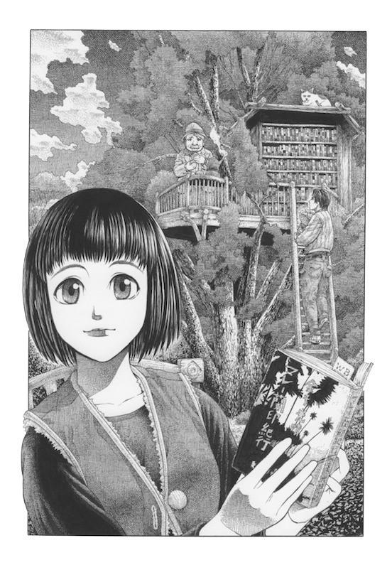 早稲田文学さんが出しているフリーペーパー『WB vol.018_2009_fall』の表紙用に描かせていただいたイラストです。  ツリーハウスに、なぜだか心惹かれます。 大きな森の中のツリーハウスで、木々の香りに包まれながら、読書ができたら。  田舎の高知にいた時はいつでも出来た事だろうに、気づくのは、手が届かなくなった時なんだなぁと思いました。http://www.bungaku.net/wasebun/freepaper/vol018.html