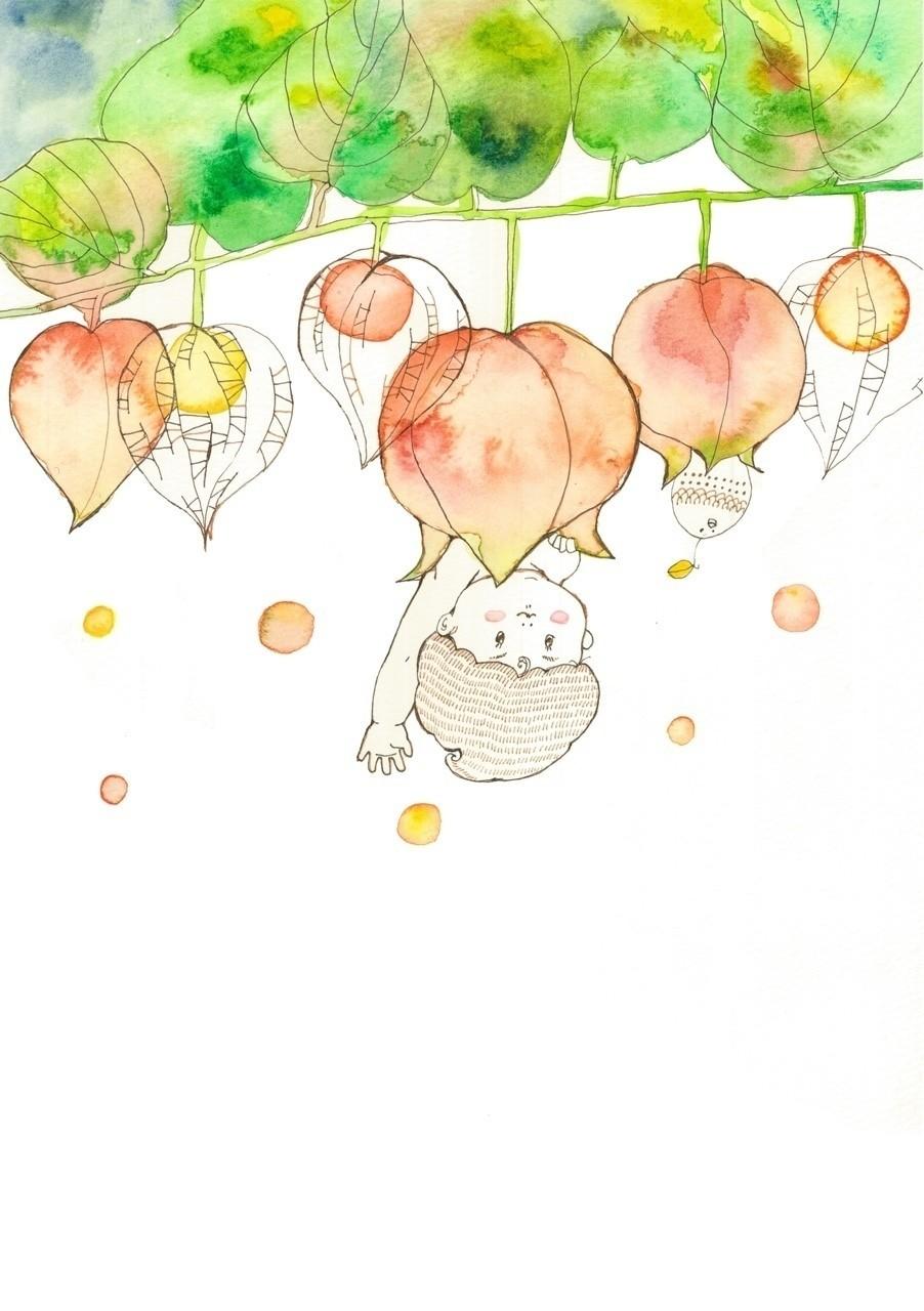 #イラスト #絵 #水彩画 #赤ちゃん #アート #ほおづき
