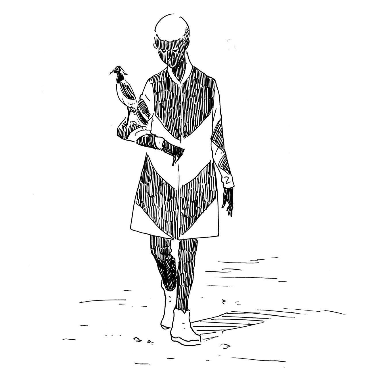 鳥人間その9 おしゃれな鍛冶屋とシロクロタゲリ|ハートヘッド/イラスト