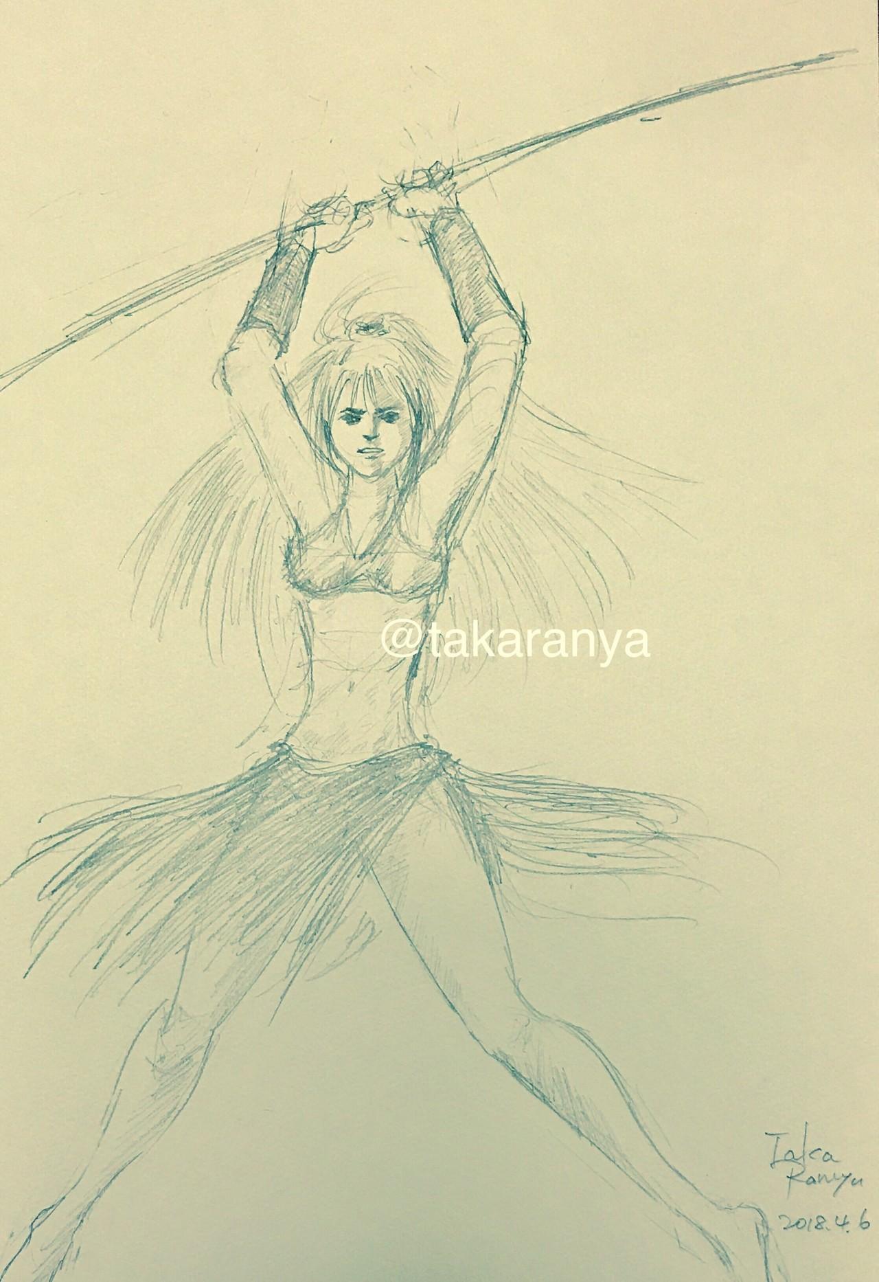 リヴィエラさんの杖で光ドバーッて感じのシーンを描いてみたんだけど