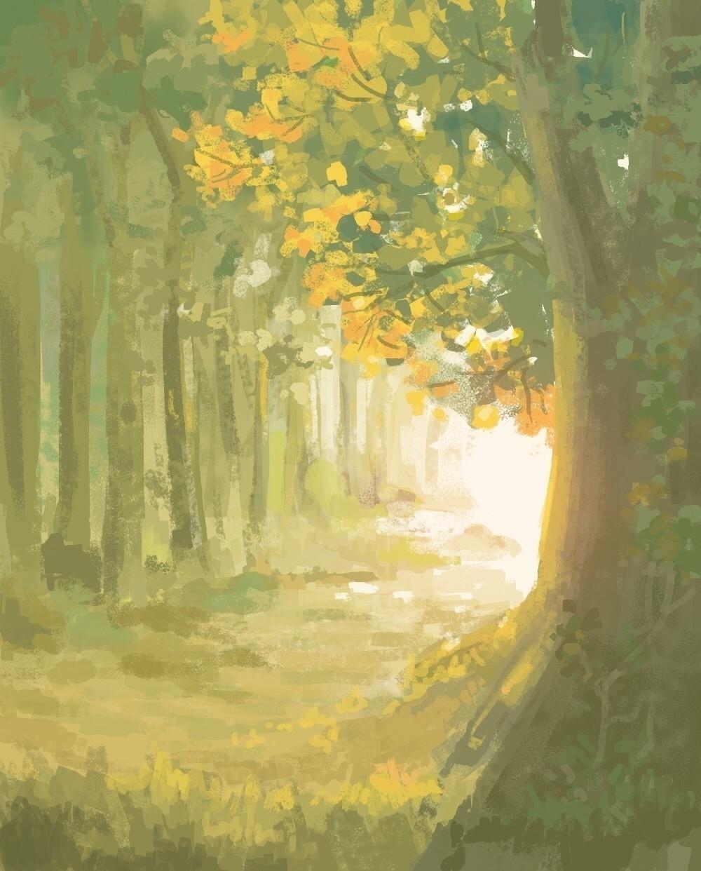 風景画 森の入り口ハートヘッドイラストnote