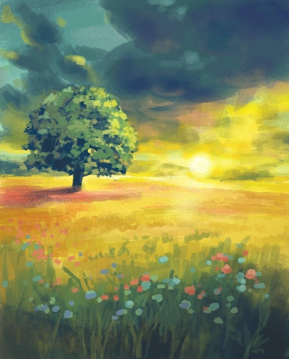 風景画 夕暮れの草原ハートヘッドイラストnote