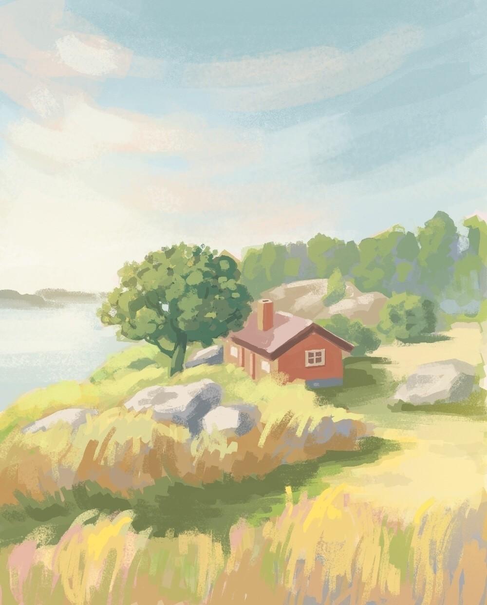 風景画 島の小屋の夕暮れハートヘッドイラストnote