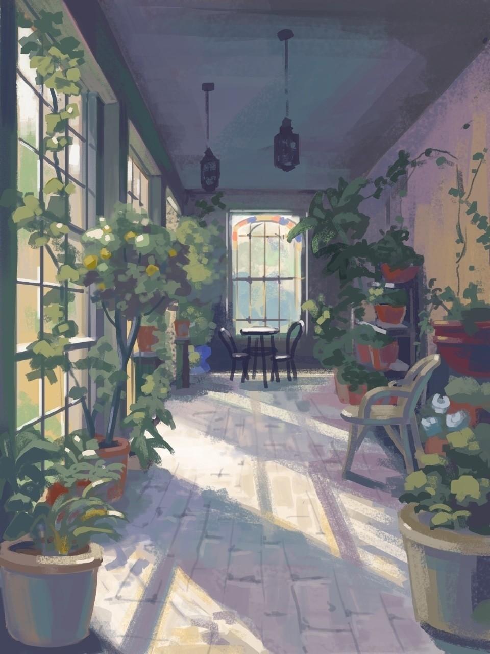 風景画 日向の窓辺ハートヘッドイラストnote