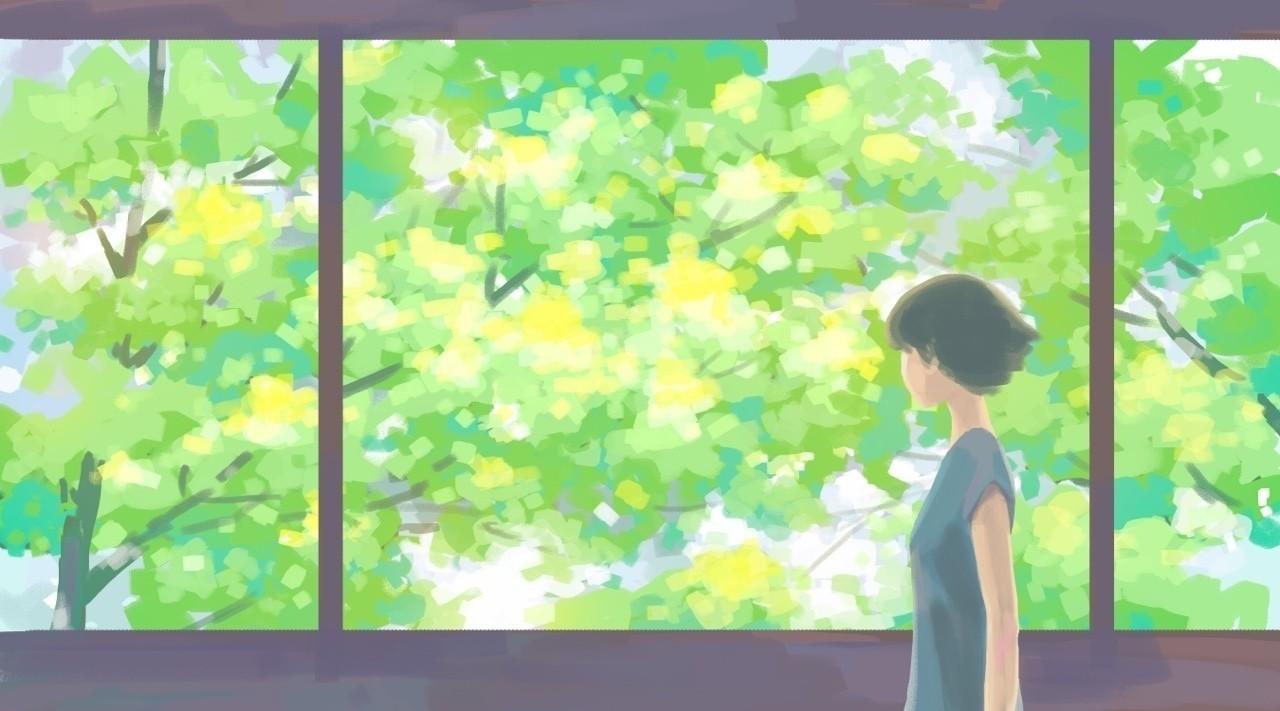 風景画 新緑のころハートヘッドイラストnote