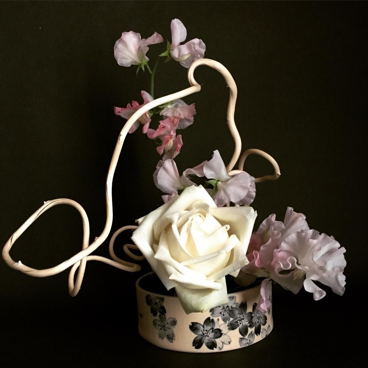 漂白蔓、薔薇、スイートピー 春の香りを感じられるようにと思いましたが、実は春らしい花材は使っていない。 #いけばな #生け花 #草月 #草月流 #花 #植物 #アート #デザイン #いけばな男子#花のある暮らし