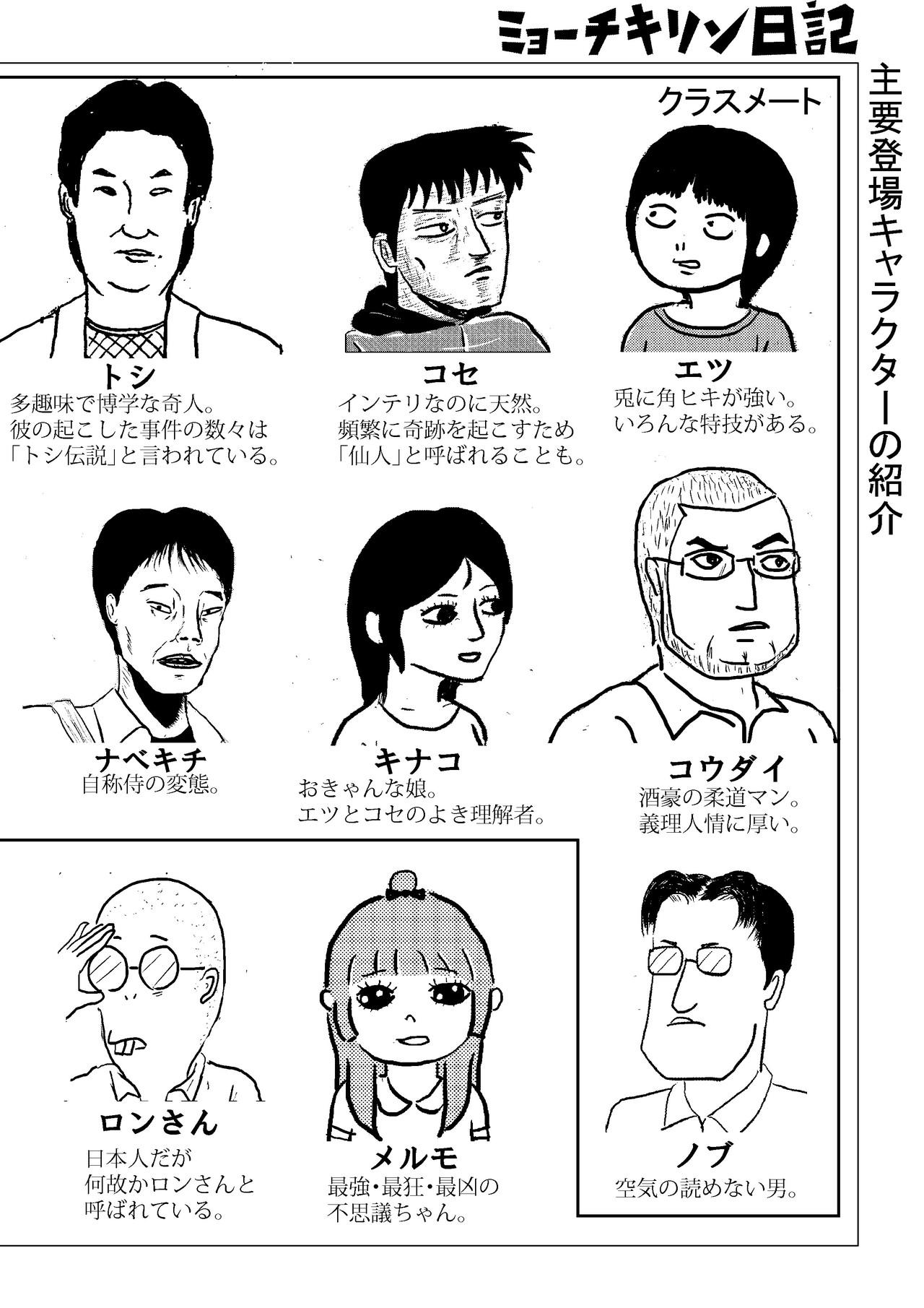 MAYBYECUCUMBERSのコミックエッセイ「ミョーチキリン日記」に登場する主要人物を簡単にまとめました。随時、加筆・変更します。 作:ETSU・KOSSE
