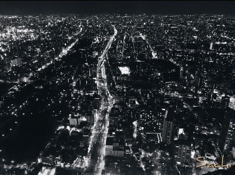 今日も私の知らない場所で  街が、人が、輝いている  私も人知れずとも  輝いていたい  いつもそういう人でありたい   #写真 #モノクロ #夜景 #輝き