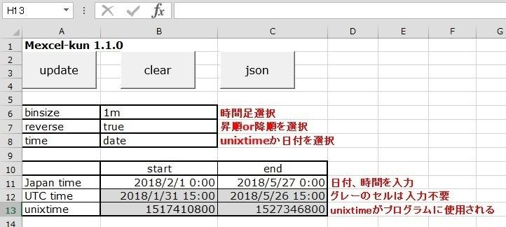 メクセル君] BitmexからOHLCVデータを取得するExcelアプリケーションの
