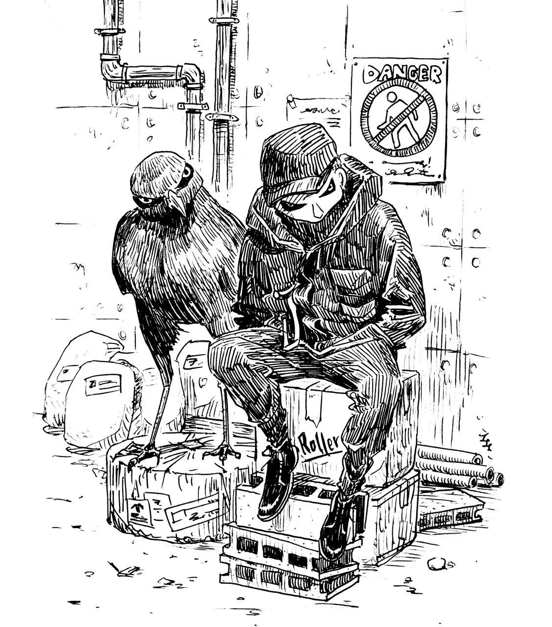 鳥人間26 ブッポウソウ のトレーサーハートヘッドイラストnote