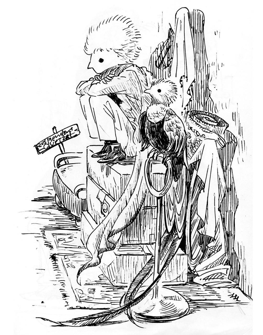 鳥人間28 , ケツァールの衣装係|ハートヘッド/イラスト|note