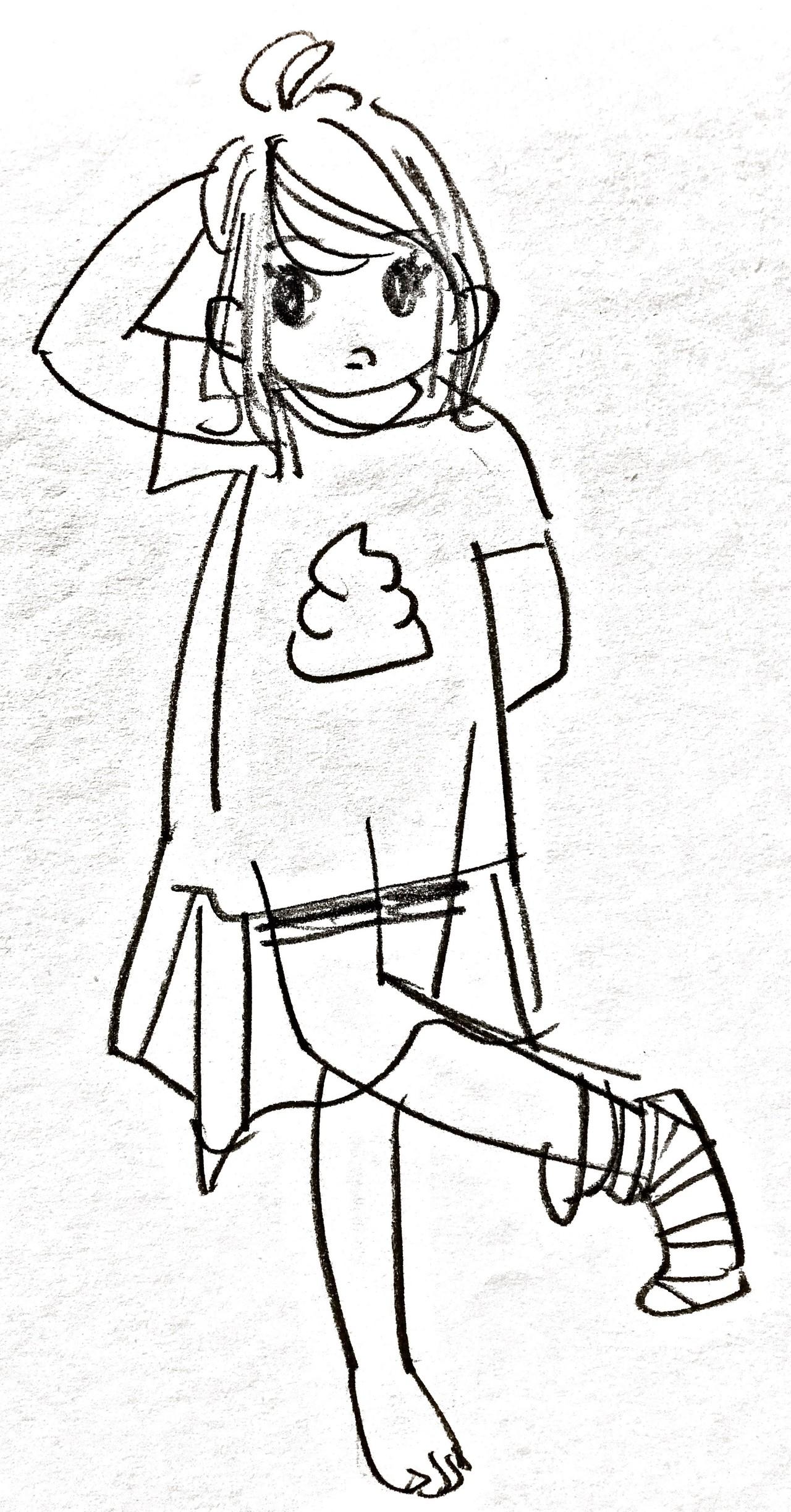 うんこtと片っぽだけの靴下ガール イラスト 絵 うんこ