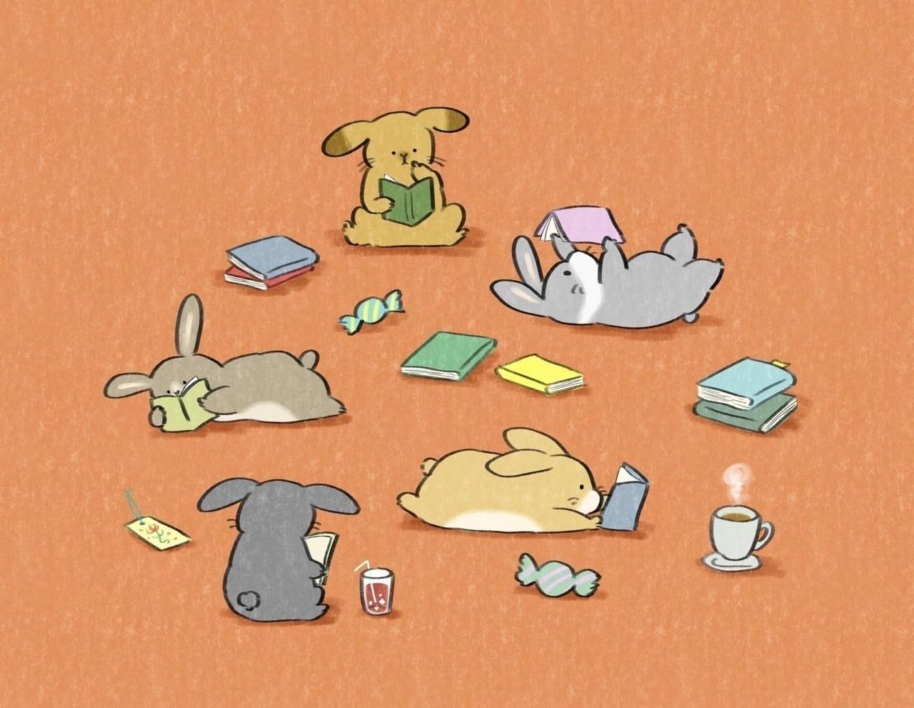 #読書の日 #うさぎ #book #rabbit #イラスト #illustration