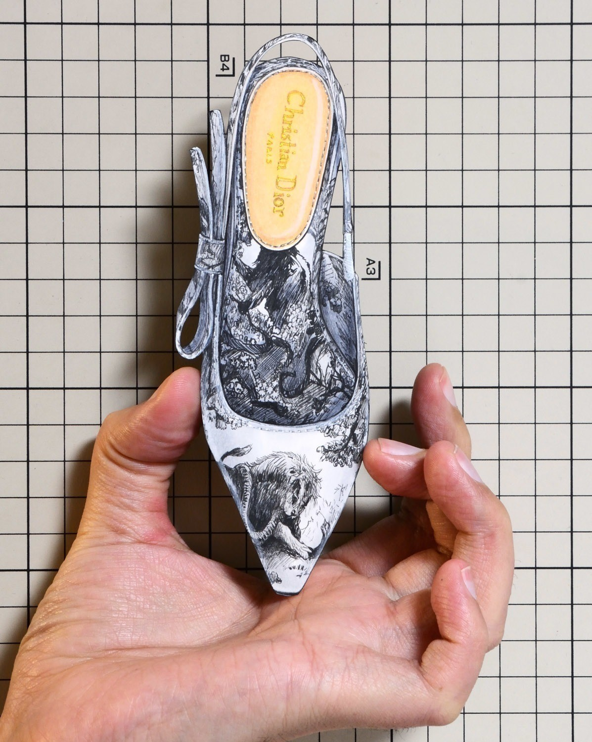 """Shoes:01202 """"Christian Dior"""" Sweet-D High-Heeled Shoe in Toile de Jouy Canvas(Cruise 2019)"""