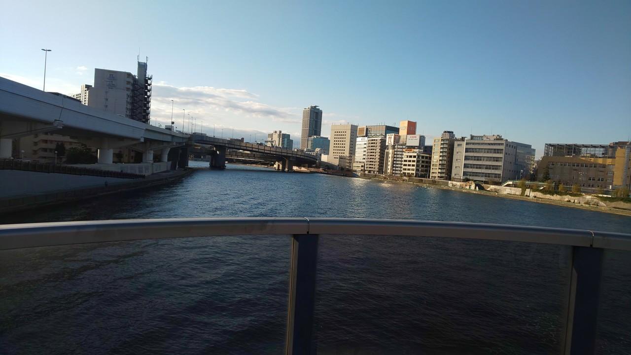 1月25日の朝 両国橋にて。