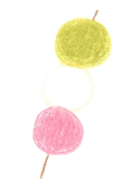 三色だんごのイラストですサイズ480px 650pxでjpgと透過pngをご